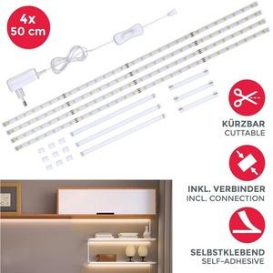 B.K.Licht Schrankleuchte BKL1179, LED Strip LED Unterbauleuchte LED Streifen Helle Lichtleiste mit Schalter LED Küchenbeleuchtung 4x50cm Stripes LED Band 1100 Lumen 4.000K Neutralweiß