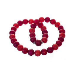 Bella Carina Perlenkette Kette mit Polaris Perlen rot 14 mm, Magnetverschluss 60 cm