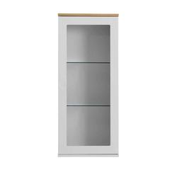 Wand Vitrine in Weiß und Eiche 95 cm hoch