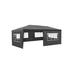 tectake Pavillon Garten Pavillon 6x3m mit 5 Seitenteilen grau