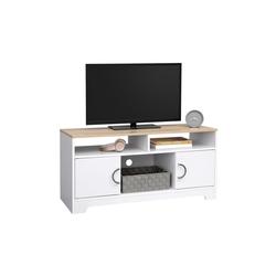 VASAGLE Lowboard LTC03WN, TV-Lowboards, Fernsehschrank, 105 x 42 x 52 cm, weiß-Natur