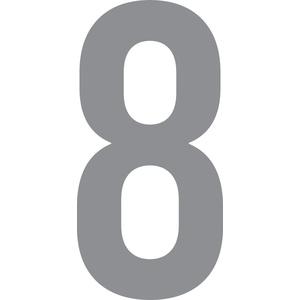 ShirtInStyle Zahlen selbsklebende Aufkleber, von 2-20cm Höhe, Mülltone, Haustür, Basteln, Boote, Nummern, Kennzeichen, Ziffer 8-8cm, silber