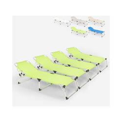 Lot de 4 chaises longues pliantes en aluminium de plage et de jardin de mer Seychelles | Vert foncé