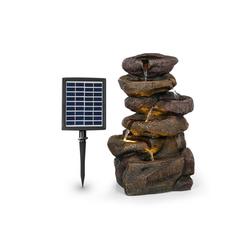 blumfeldt Gartenbrunnen Savona Solarbrunnen 2,8 W Polyresin 5h Akku LEDs Steinoptik, 30 cm Breite