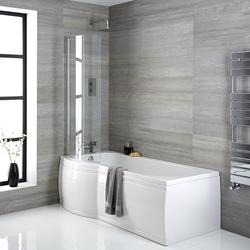 167,5x85cm Duschbadewanne mit Duschwand & Schürze P-förmig Acryl linksbündig 230L Weiß, von Hudson Reed