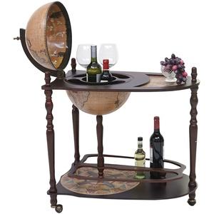 Globusbar mit Tisch MCW-T875, Minibar Hausbar, Weltkugel rollbar Eukalyptusholz