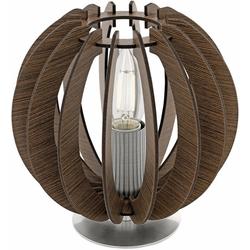 EGLO Tischleuchte COSSANO, mit Holzlamellen braun