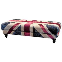 Casa Padrino Chesterfield Sitzbank mit England UK Flagge 152 x 61 x H. 43 cm - Chesterfield Wohnzimmer Möbel