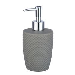 WENKO Punto Seifenspender, 380 ml, Nachfüllbarer Seifendosierer für die portionierte Abgabe von Flüssigseife, Farbe: Grau