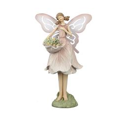 dekojohnson Gartenfigur Deko-Figur Blumenfee Elfe Blumen-Engel rosa 24cm