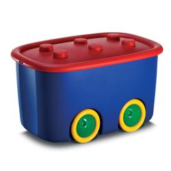KIS Funny Box Spielzeugkiste in verschiedenen Farben, Spielzeugkiste (58x38,5x32 cm) mit Rädern u.Deckel, Farbe: Blau / Rot