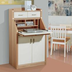 Sekretärschrank in Creme Weiß und mit Buche furniert 120 cm hoch