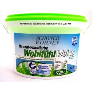 Mineral-wandfarbe Wohlfühlweiss Matt - Für Allergiker Geeignet - 2,5 L