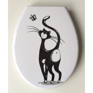 ADOB Design WC Sitz Katze Klobrille Klodeckel Toilettendeckel aus Duroplast, Absenkautomatik, Softclose, zur Reinigung abnehmbar, 59862