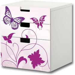 STIKKIPIX Möbelfolie S3K04, Butterfly Möbelsticker/Aufkleber - passend für die Kinderzimmer Kommode mit 3 Fächern/Schubladen STUVA von IKEA - Bestehend aus 3 passgenauen Möbelfolien (Möbel Nicht inklusive)