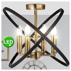 etc-shop Kronleuchter, Decken Lampe Kronleuchter bronze Ring Design Leuchte beweglich im Set inkl. LED Leuchtmittel