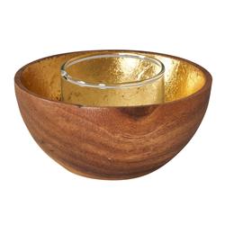 Levandeo® Teelichthalter, Holzschale Akazie 10cm Braun Gold Windlicht Teelichthalter Kerze Kerzenhalter