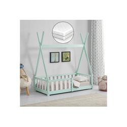 en.casa Kinderbett, Tipi mit Rausfallschutz [Kiefernholz] - Mintgrün - Mit Kindermatratze - 70x140cm grün