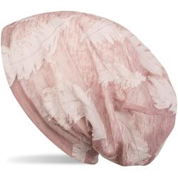 styleBREAKER Beanie Beanie mit Feder Muster Beanie mit Feder Muster rosa