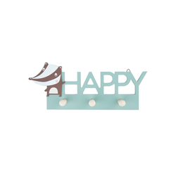 BIECO Garderobenhaken Bieco Garderobe Kinder Happy Kindergarderobe Holz Garderoben Haken Wandgarderobe Holz Kleiderhaken Kinder Garderobenleiste Kinder 30 cm 3 Garderoben Haken Garderobe Holz Wandhaken