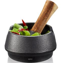 GEFU Mörser X-PLOSION®, (Set, 2-tlg), gusseiserner Stößel mit Griff aus Akazienholz