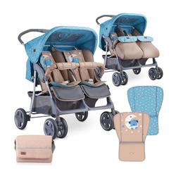 Lorelli Zwillingswagen Zwillingskinderwagen TWIN, Wickeltasche Einhand-Klappsystem Fußabdeckung blau