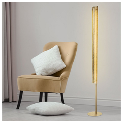 Globo Stehlampe, LED Stehlampe Wohnzimmer Deckenfluter Standlampe Gold, Metall, LED 24 Watt 1600 lm, H 160 cm