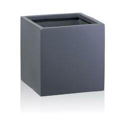 Decoras - Pflanzkübel CUBO 80 Fiberglas, 80x80x80 cm, grau matt