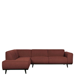 Ecksofa in Rotbraun Stoff 45 cm Sitzhöhe