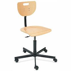 WEREK Werkstatt-Drehstuhl mit Holzrücken und Holz-Sitzschale