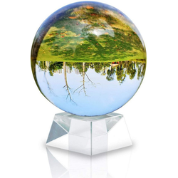 Intirilife Dekokugel, Glas Foto Kugel mit Ständer in KRISTALL KLAR 130 mm - Kristallkugel mit Glasständer beige 13 cm x 13 cm