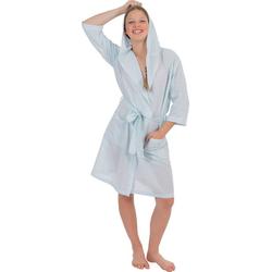 Damenbademantel 6352, Wewo fashion, aus leichtem Pestemal blau XL