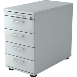 bümö Container OM-SC50 mit Schloss & 5 Schubladen - Schreibtisch Bürocontainer, Standcontainer fürs Büro - Dekor: Grau grau