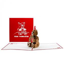 Colognecards Pop-Up Karte Weihnachten Teddy