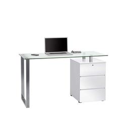 Schreibtisch mit Glasplatte Schubladen