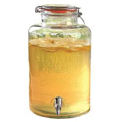 dynamic24 Getränkespender, 8L Glas Getränkespender Zapfhahn Dispenser Saftspender Wasser Cocktail Spender
