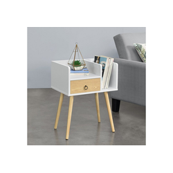en.casa Nachttisch, Stylischer Beistelltisch Gibbston mit Schublade - 50 x 36 x 64cm - Weiß / Holzfarben