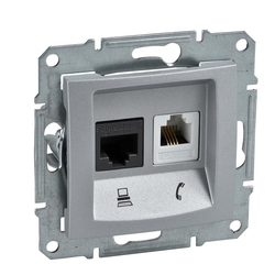Dose für Netzwerk und Telefon Cat. 6 Aluminium Sedna Schneider SDN5200160/SCH