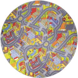 Andiamo Kinderteppich Straße, rund, 5 mm Höhe, Straßen-Spielteppich, Straßenbreite: 8,5 cm, Kinderzimmer bunt Kinder Bunte Kinderteppiche Teppiche