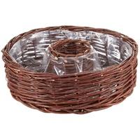Dehner Dekokorb Weide-Pflanzring mit Folieneinsatz, Ø 40 x 12 cm,