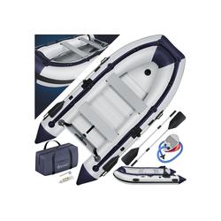 KESSER Schlauchboot, Gummiboot, Wasserfahrzeug, aufblasbares Ruderboot, Freizeitboot, Schlauchboot - mit 2 Sitzbänken, Aluboden, Luftpumpe, Reparaturset und Paddel - Aufblasbares Ruderboot in Grau - PVC, Familiengröße bis 4 Personen grau