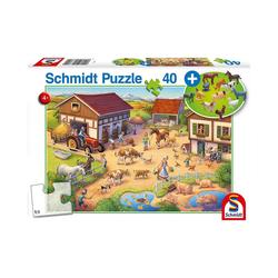 Schmidt Spiele Puzzle Puzzle Lustiger Bauernhof inkl. Bauernhof-Set, 40, Puzzleteile