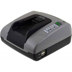 Powery Powery Akku-Ladegerät mit USB für Werkzeug Black&Decker Rasenkantenschneider LST220, 14,4V-20V