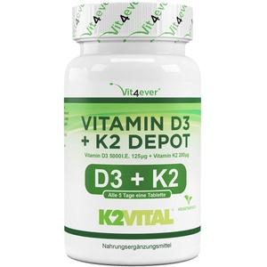 Vitamin D3 + K2 Depot - 100 Tabletten mit 5000 I.E + Vitamin K2 200 mcg pro EINER Tablette - 99,7+% All-Trans (K2VITAL® von Kappa) - Laborgeprüft - Hochdosiert - Premium Qualität