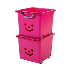 set - 2 grandes boîtes de rangement pour jouet sur roulette - Smiley Kids Boxes - KCB-32, rose, 25