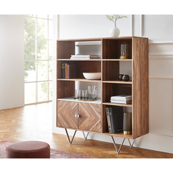 DELIFE Highboard Pacino 115 cm Sheesham Natur Steinplatte Weiß Marmor, Highboards