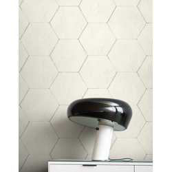 Newroom Vliestapete, Weiß Tapete Modern Stein - Hexagon Creme Grau Steintapete Steinoptik Backstein Industrial Bauhaus für Wohnzimmer Schlafzimmer Küche