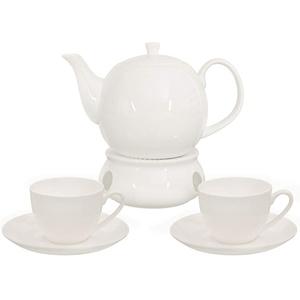 Buchensee Kaffeeservice aus Fine Bone China Porzellan. Tee- / Kaffeekanne in fein-cremigem Weiß mit 1,5l Füllvolumen, 2 Kaffeetassen, 2 Unterteller und Stövchen.