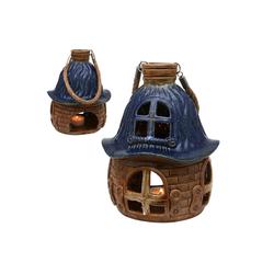 SIGRO Windlicht Porzellan Windlicht Haus (1 Stück) blau