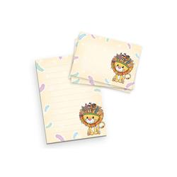 Kreative Feder Briefpapier, Briefpapier-Set für Kinder, Löwe, DIN A5 Briefpapier-Block 50 Blatt mit 20 Umschlägen, Briefpapier mit Linien, Brief, Post, Schreiben